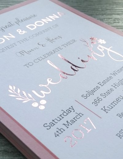 Rose gold foil on a New Zealand wedding invitation