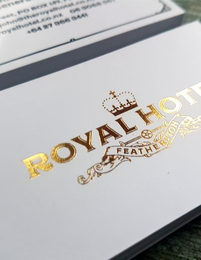 Royal Hotel Featherston cards, gold foil stamped logo on ultra thick smooth white