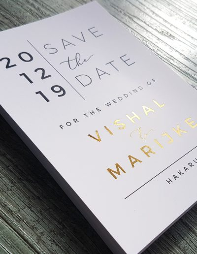 Save The Date cards, gold foil + colour printing on a smooth, white card stock