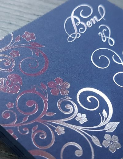 Silver and navy floral wedding invitation