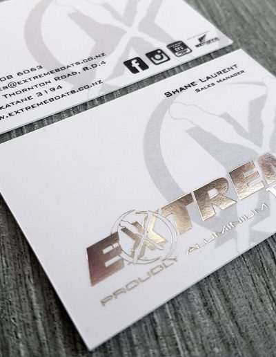 Silver foil stamped logo on ultra thick white business cards