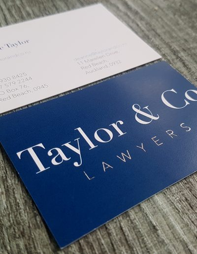 Silver foil business cards for local Hibiscus Coast business, Taylor & Co