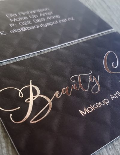 Silver foil on black business cards for NZ business, Beauty Spot Makeup Artistry