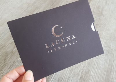 Silver foil stamped logo to personalise gift voucher sleeves