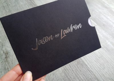 Silver foil names to customise A6 wedding invitation sleeve