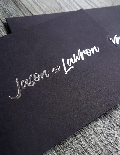 Pinc's A6 sleeves with silver foil stamped names to house wedding invitations