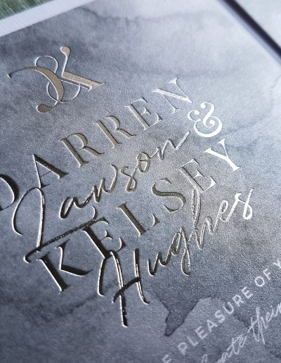 Close up of silver foil stamped wedding invitation designed and printed by Pinc