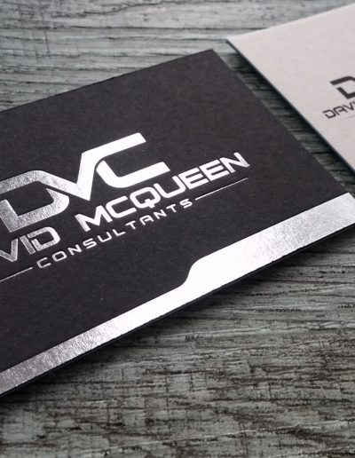 Silver foil on black, quality business cards
