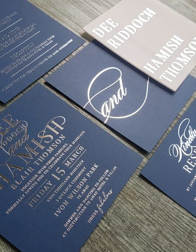 Luxurious silver and navy wedding invitation set, designed and printed by Pinc