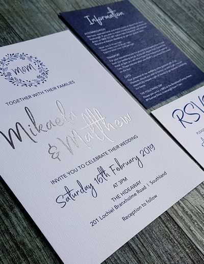 Silver and navy wedding invitation set printed by Pinc