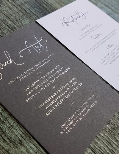 Silver foil stamped onto charcoal card with matching white linen info card