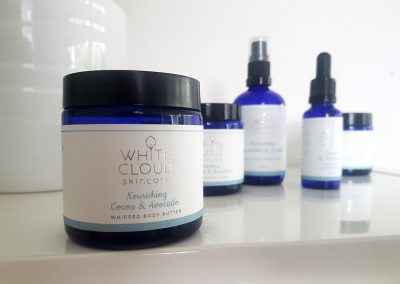 Silver foil stamped label set designed and printed by Pinc for White Cloud Skincare