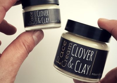 Skincare labels for Clover & Clay printed by Pinc