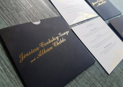 Custom branded sleeves with bride and groom's names