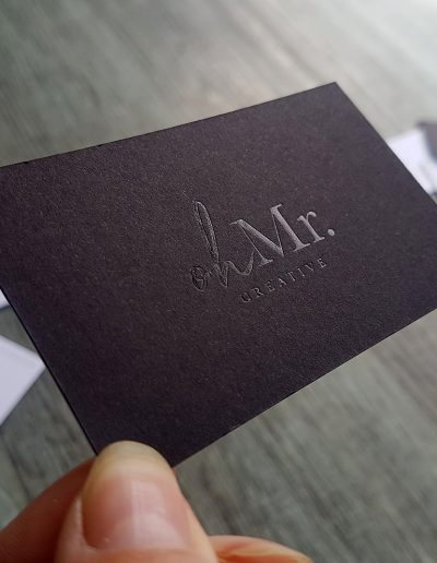 Gloss black foil on matt black business cards
