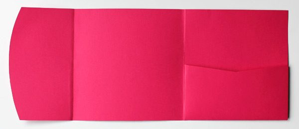 Pink square pocketfold envelope