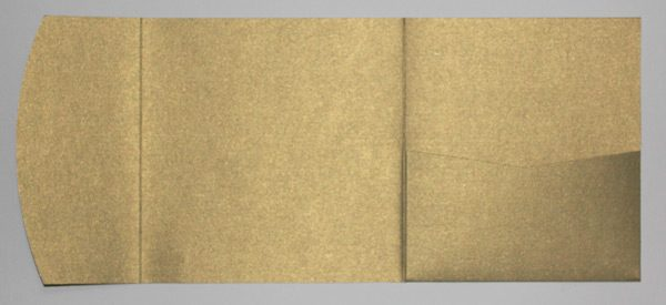 Antique gold metallic square pocketfold envelope