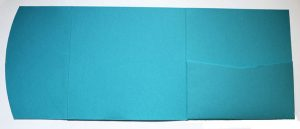 Blue square pocketfold envelope