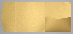 Bright gold metallic square pocketfold envelope