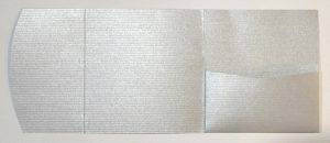 Textured silver stripe square pocketfold envelope