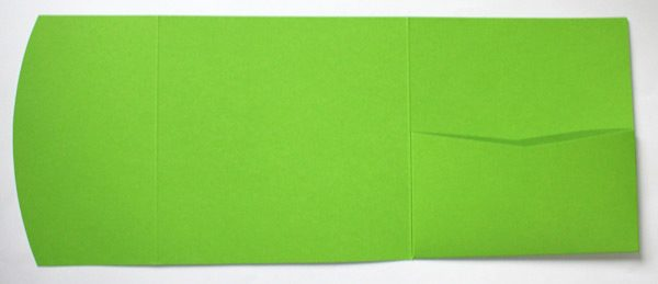 Lime green square pocketfold envelope