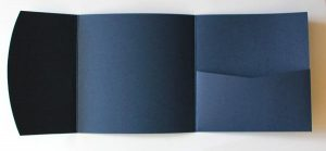 Navy blue square pocketfold envelope