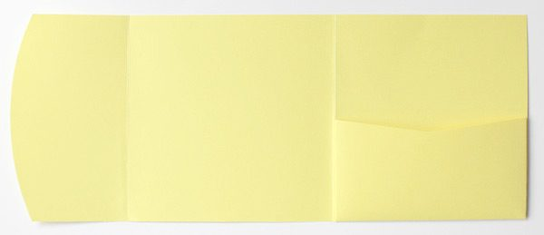 Pastel yellow square pocketfold envelope