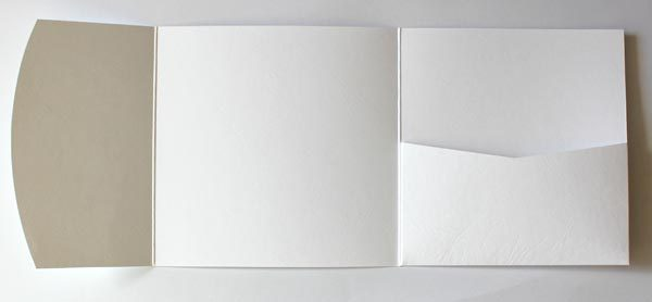 White leather embossed square pocketfold envelope