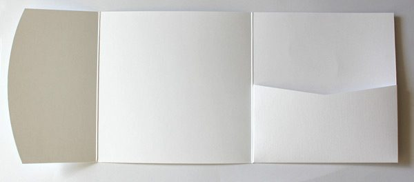 White linen embossed square pocketfold envelope