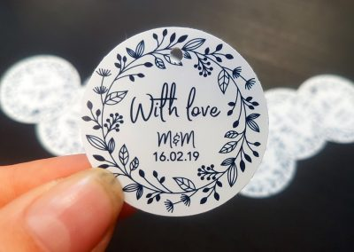 Swings tags for NZ business + wedding favours