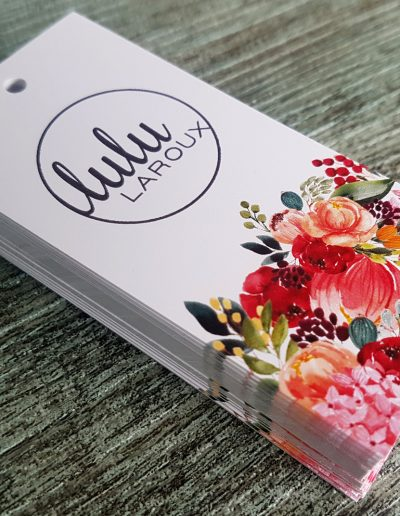 Colourful swing tags printed for Lulu Laroux
