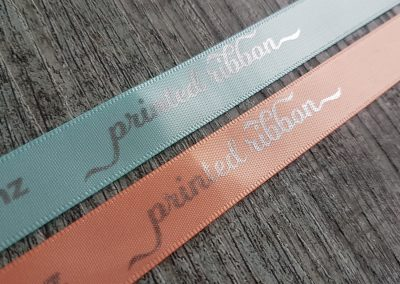 Peach and Aqua ribbon with silver print
