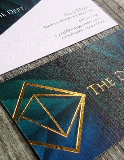 Textured business cards - colour printing + gold foil stamped logo