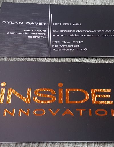 Textured foil stamp for Auckland business