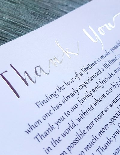 Thank you cards with silver foil