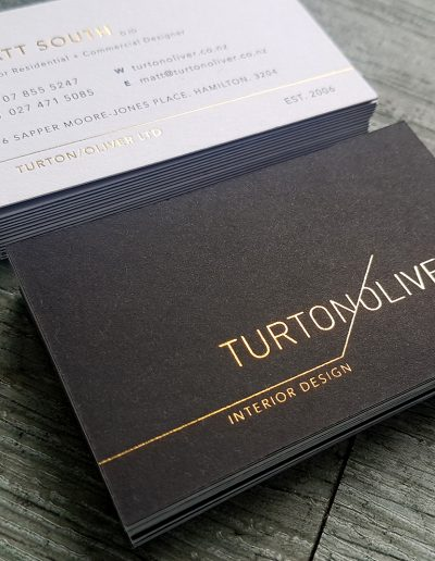 Black, white and gold cards for Turton Oliver