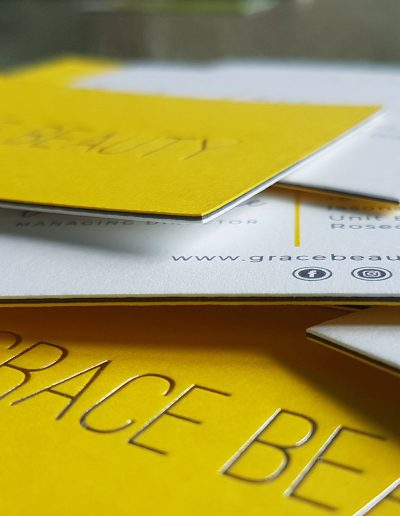 Ultra thick 3 layered business cards using yellow, charcoal and white card