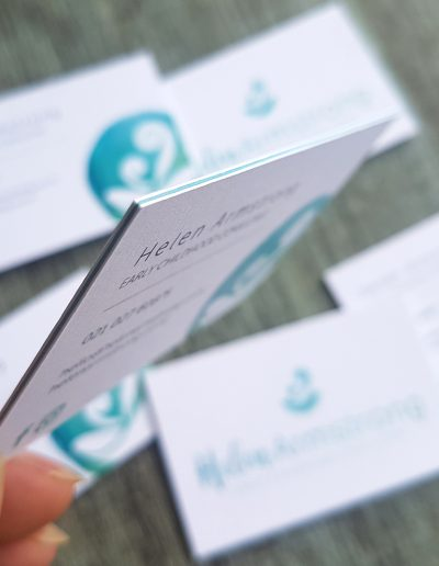Blue seam on ultra thick business cards with textured white front and back
