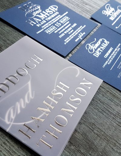 Wedding invitations, designed and printed by Pinc