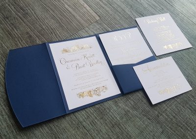 Gold foil vineyard themed wedding invitation set