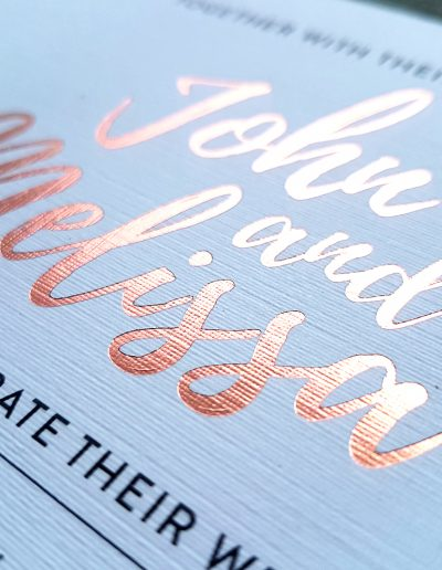 Rose gold foil printed wedding invitations, NZ