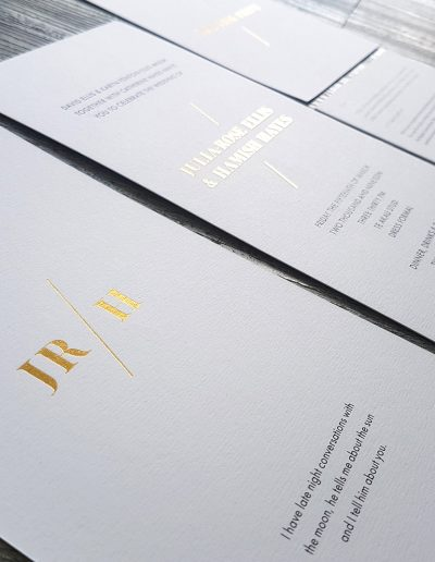 Modern gold wedding stationery set