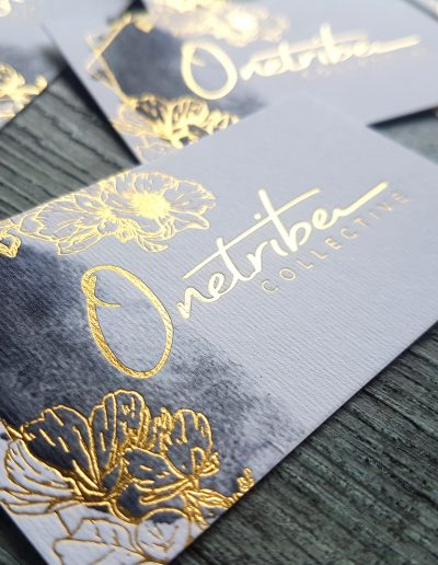 Gold foil + digital print on textured white