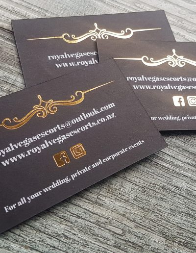 White toner printed onto black card + gold foil stamps for Royal Vegas Escorts