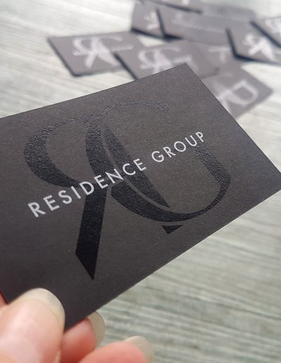 White toner print + digital black on matt black business cards