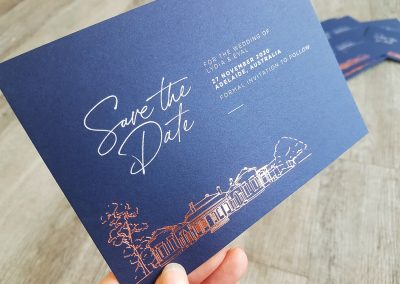 Save The Date NZ, navy card white toner and rose gold foil