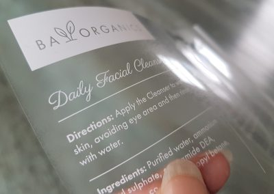 White print on clear labels, looks amazing on dark glass!