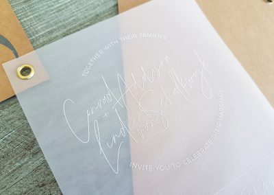 White print on vellum wedding invitations
