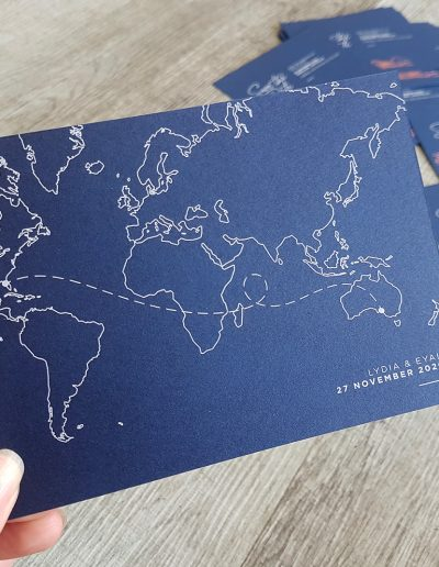 Save The Date card with world map