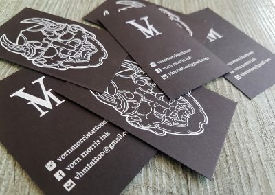 White print on black card, NZ business cards